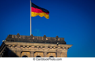 bandeira, alemanha, berlim