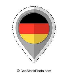 bandeira, alemanha, localização, alfinete, ícone