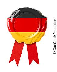 bandeira, alemanha, vermelho, selo, medalha, ou, fita