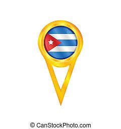 bandeira, alfinete, cuba