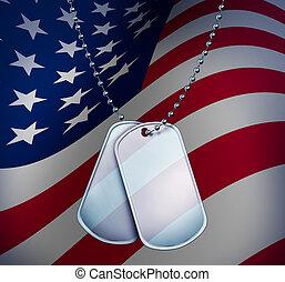 bandeira americana, cão, etiquetas