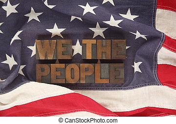 bandeira americana, com, a, palavras, nós, a
