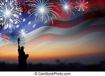 bandeira americana, com, fogos artifício, em, crepúsculo, fundo, desenho, para, 4, julho, dia independência, ou, outro, celebração