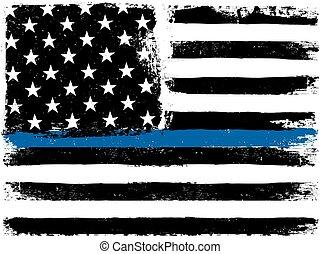 bandeira americana, com, magra, azul, linha., grunge, envelhecido, experiência., monocromático, gamut., preto, white.