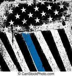 bandeira americana, com, magra, azul, linha., grunge, patriótico, experiência.