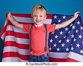 bandeira americana, criança
