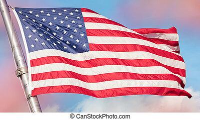 bandeira americana, em, a, céu