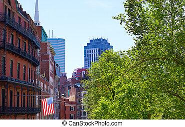 bandeira americana, em, boston, perto, comum