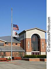 bandeira americana, em, meio-pau, em, memória, de, slain, virgínia, tech, estudantes