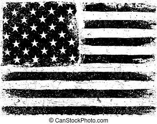 bandeira americana, experiência., grunge, envelhecido, vetorial, template., horizontais, orientation., monocromático, gamut., preto, white., grunge, camadas, lata, ser, fácil, editable, ou, removed.