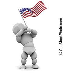 bandeira americana, homem
