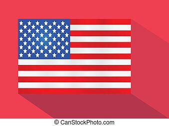 bandeira americana, ilustração, idéia