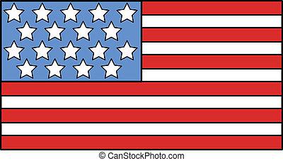 bandeira americana, ilustração, vetorial