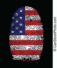 bandeira americana, impressão digital