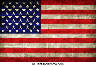 bandeira americana, ligado, grunge, papel