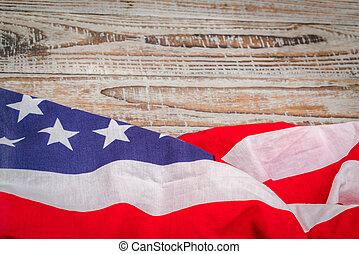 bandeira americana, ligado, madeira, fundo, .