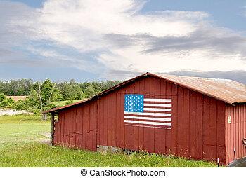 bandeira americana, ligado, um, celeiro