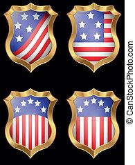 bandeira americana, metal, escudo, brilhante