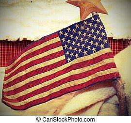bandeira americana, tecido, com, vara, e, um, estrela, acima