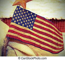 bandeira americana, tecido, wtih, vindima, antigas, efeito