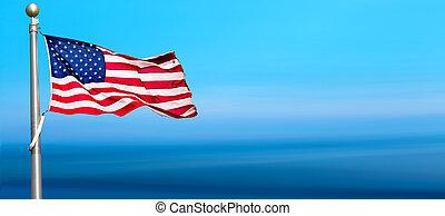 bandeira americana, waving, em, céu azul