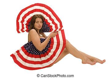 bandeira, americano, femininas, atraente
