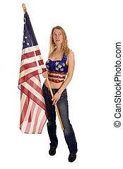 bandeira, americano, patriota