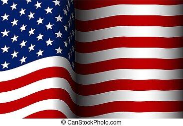 bandeira, americano, vento, fluir