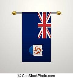 bandeira, anguilla, penduradas