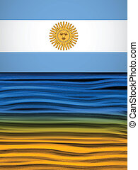 bandeira argentina, onda, amarela, branca, experiência azul