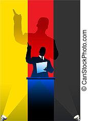 bandeira, atrás de, alemanha, político, pódio, orador