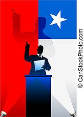 bandeira, atrás de, chile, político, pódio, orador