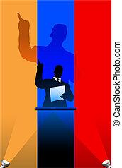 bandeira, atrás de, político, arménia, pódio, orador