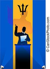 bandeira, atrás de, político, barbados, pódio, orador