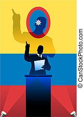 bandeira, atrás de, político, columbia, pódio, orador