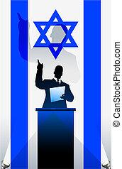 bandeira, atrás de, político, israel, pódio, orador