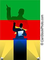 bandeira, atrás de, político, pódio, orador, camerun