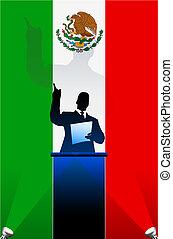 bandeira, atrás de, político, pódio, orador, méxico
