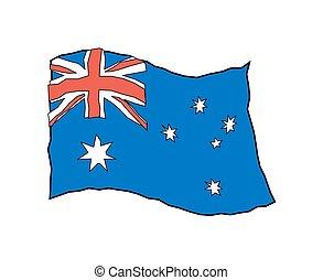bandeira austrália, em, grunge, style., australiano, nacional, bandeira