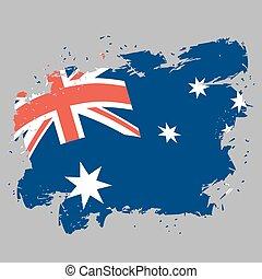 bandeira austrália, grunge, estilo, ligado, cinzento, experiência., cursos escova, e, tinta, splatter., símbolo nacional, de, australiano, estado