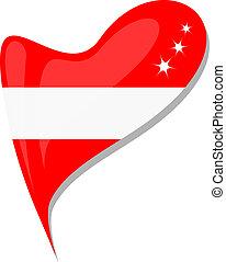 bandeira austríaca, botão, forma coração