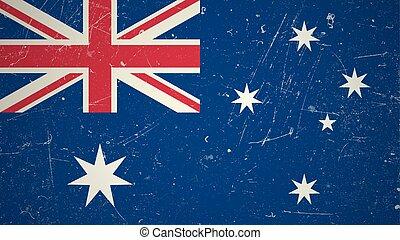 bandeira australiana, com, grunge, texture.