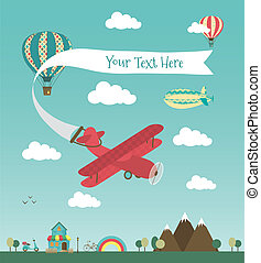 bandeira, avião, desenho, retro, ar