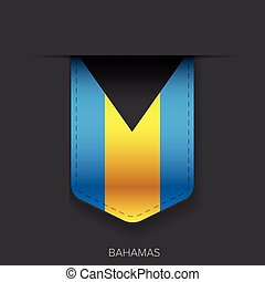 bandeira bahamas, vetorial, fita