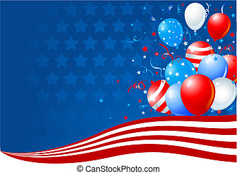 bandeira, balões, americano, onda