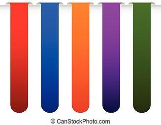 bandeira, bookmark, fundos, vetorial, de, borda, de, um, page., colorido, desenho, elements.