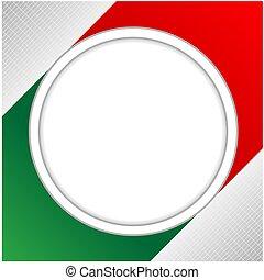 bandeira, borda, círculo, cartão, italiano
