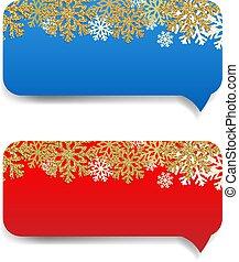 bandeira, borda, inverno, snowflake