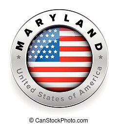 bandeira, botão, emblema, maryland, eua
