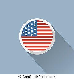 bandeira, botão, eua, ícone